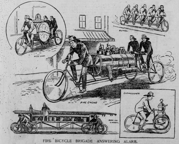 ნებაყოფლობითი სახანძრო ნაწილები ველოსიპედებით. აშშ, 1896 წელი